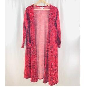 Lularoe Cardigan Sarah Open Front Pocket Long Red